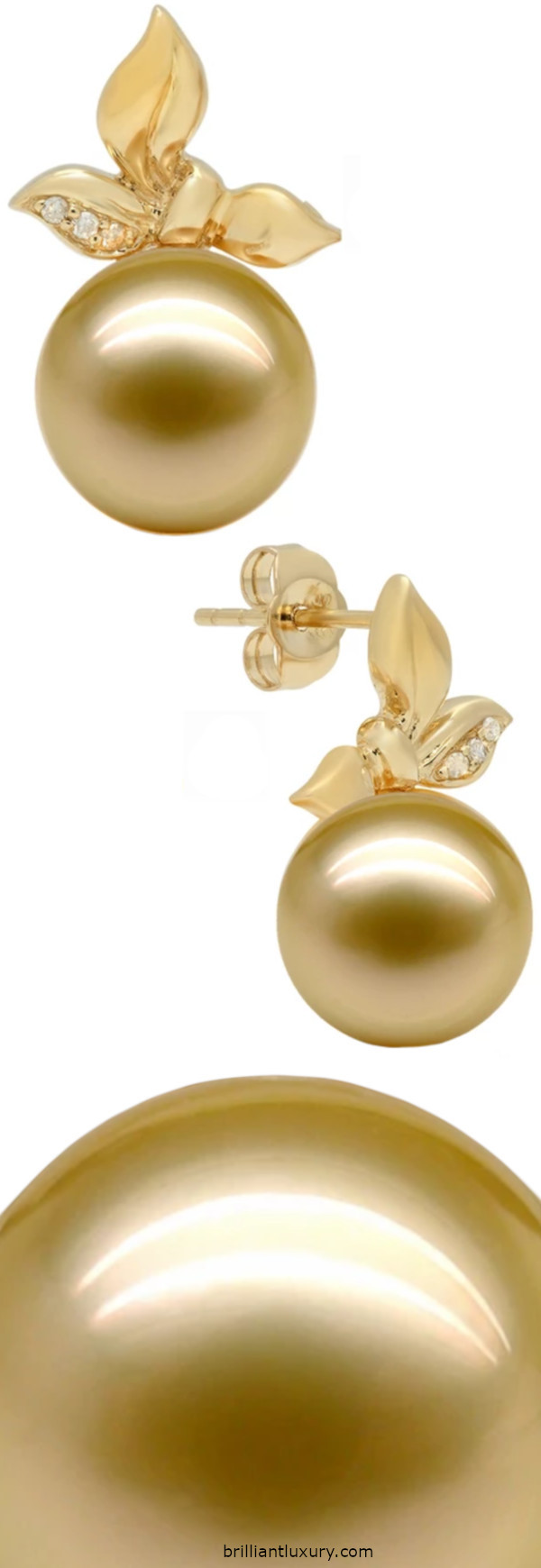 Lily Treacy Elaine south sea yellow pearl and  diamond earrings