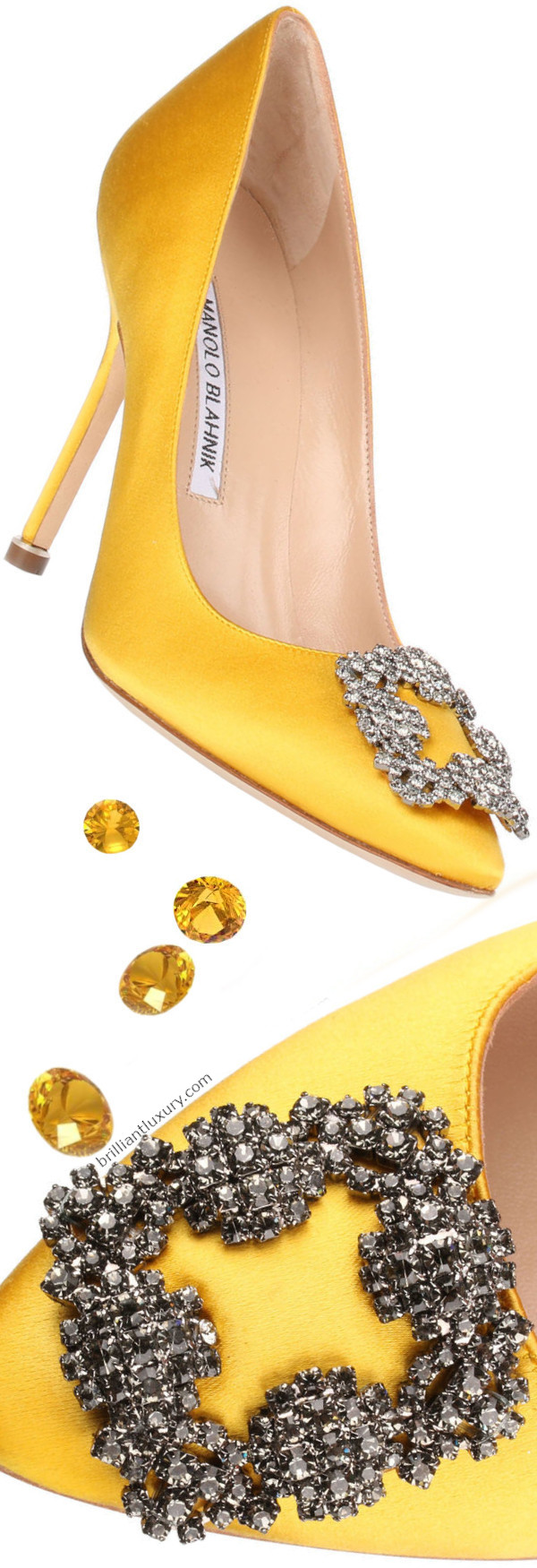 Manolo Blahnik Hangisi bejeweled yellow satin pumps