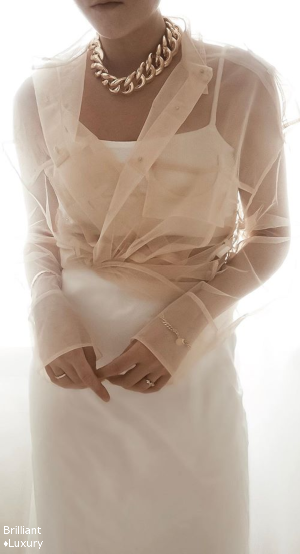 #white satin skirt & skin-colored transparent blouse #neutrals