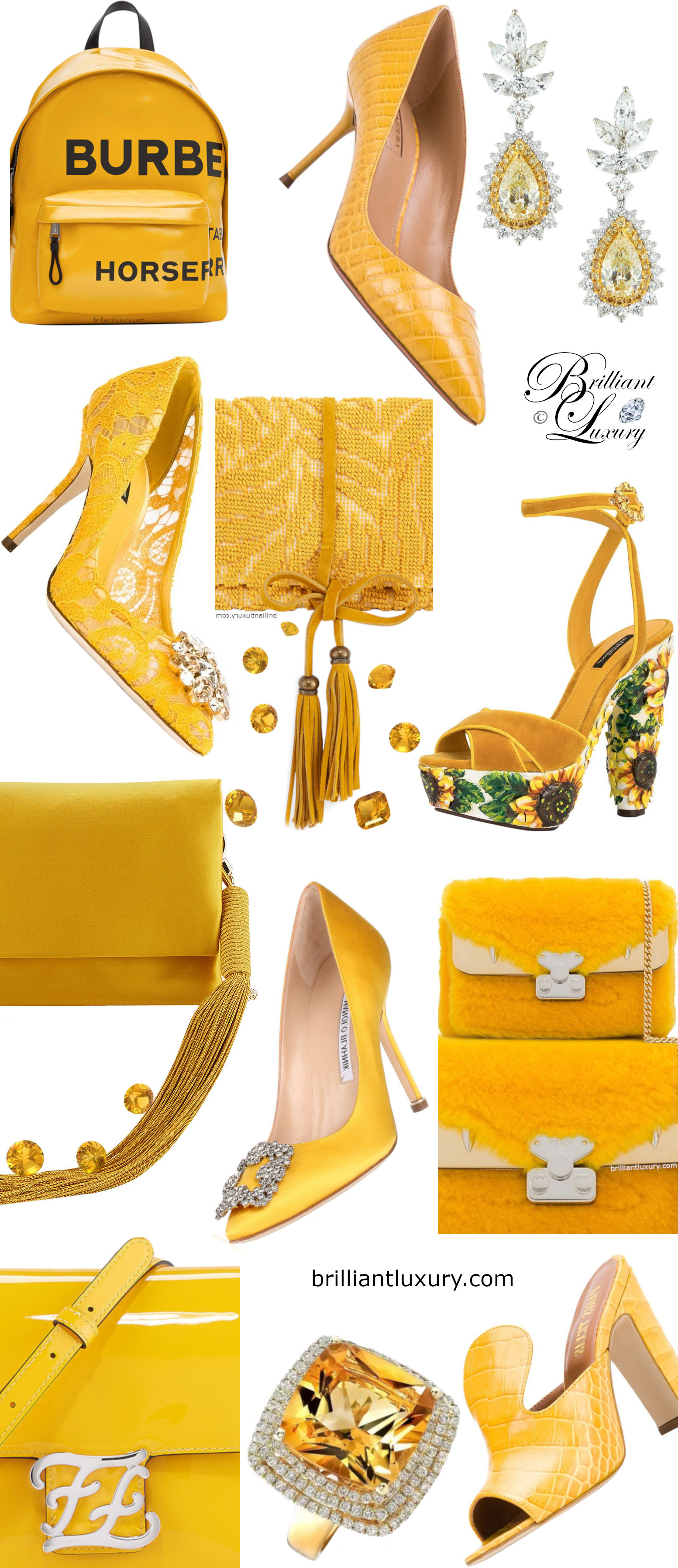 Accessories in yellow Pantone Color Saffron 2020