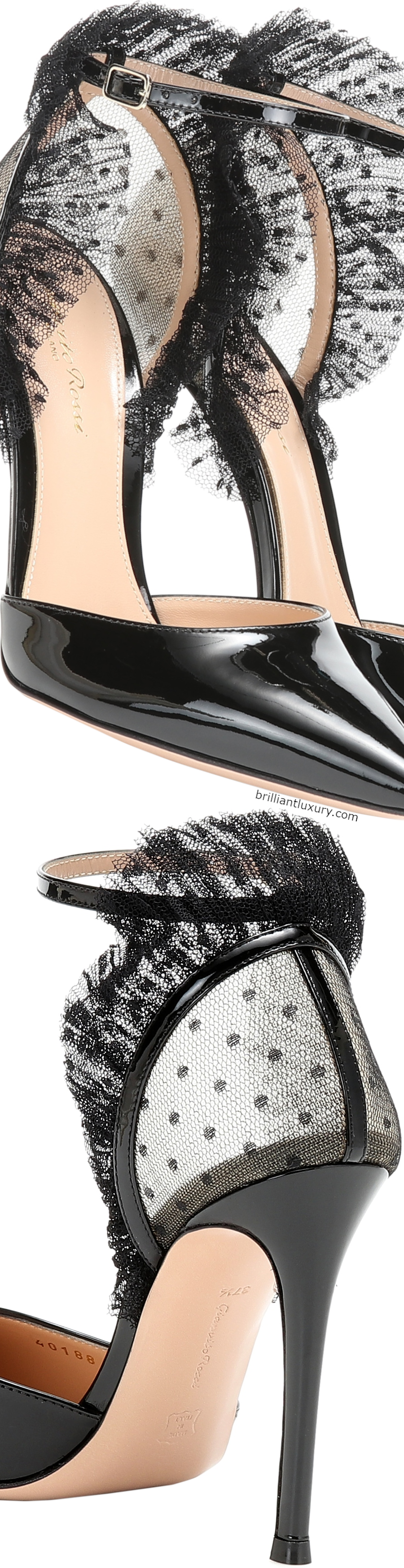 Gianvito Rossi tulle and patent leather pumps #black #shoes #accessories