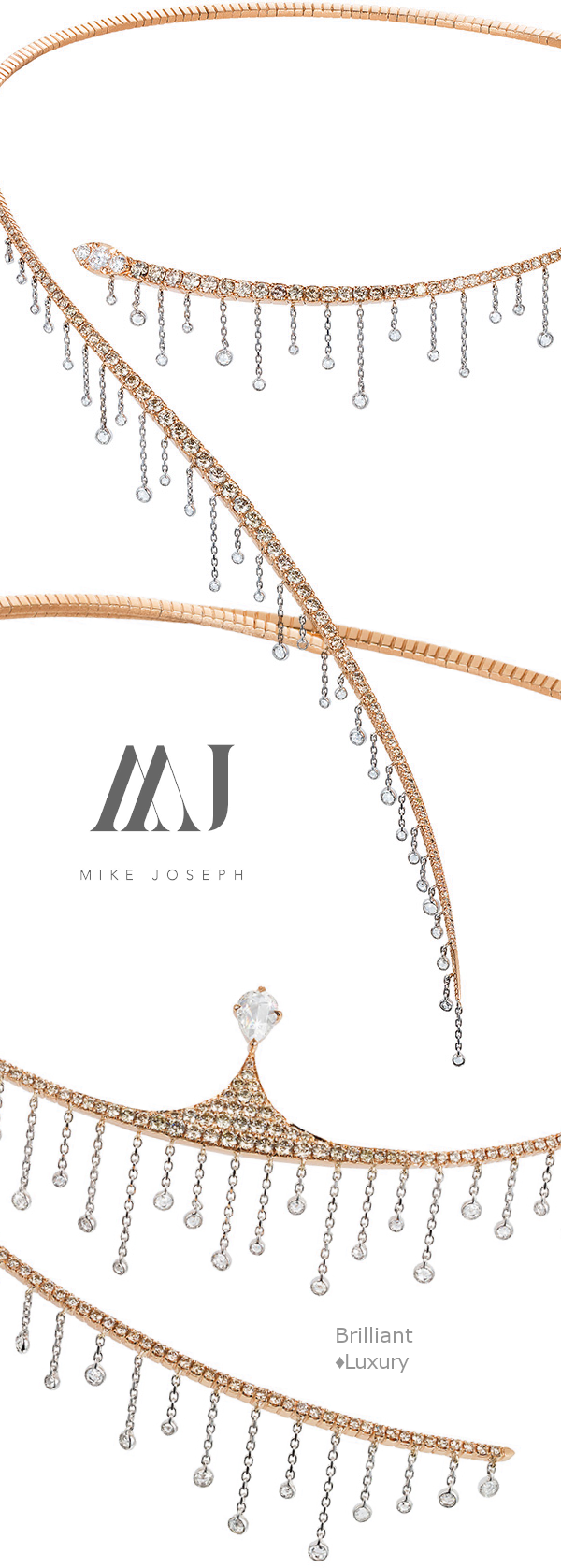 Mike Joseph Waterfall Collection 18k rose and white gold diamond necklaces #jewellery #accessories