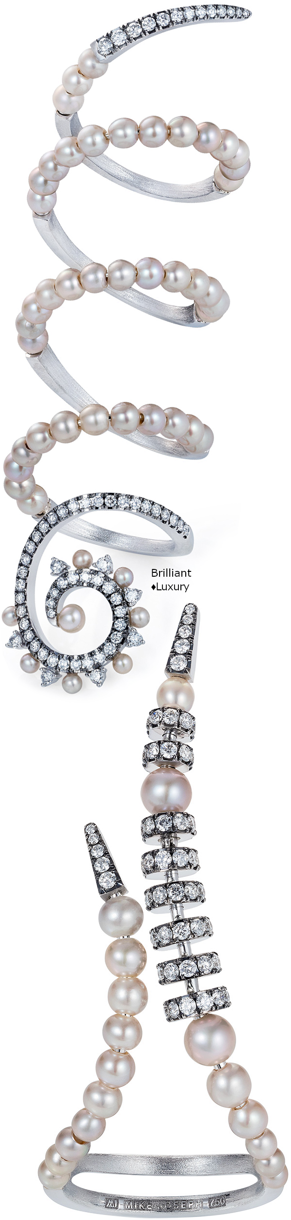 Mike Joseph edgy beauty 18k white gold diamond and grey pearls rings #jewellery #accessories