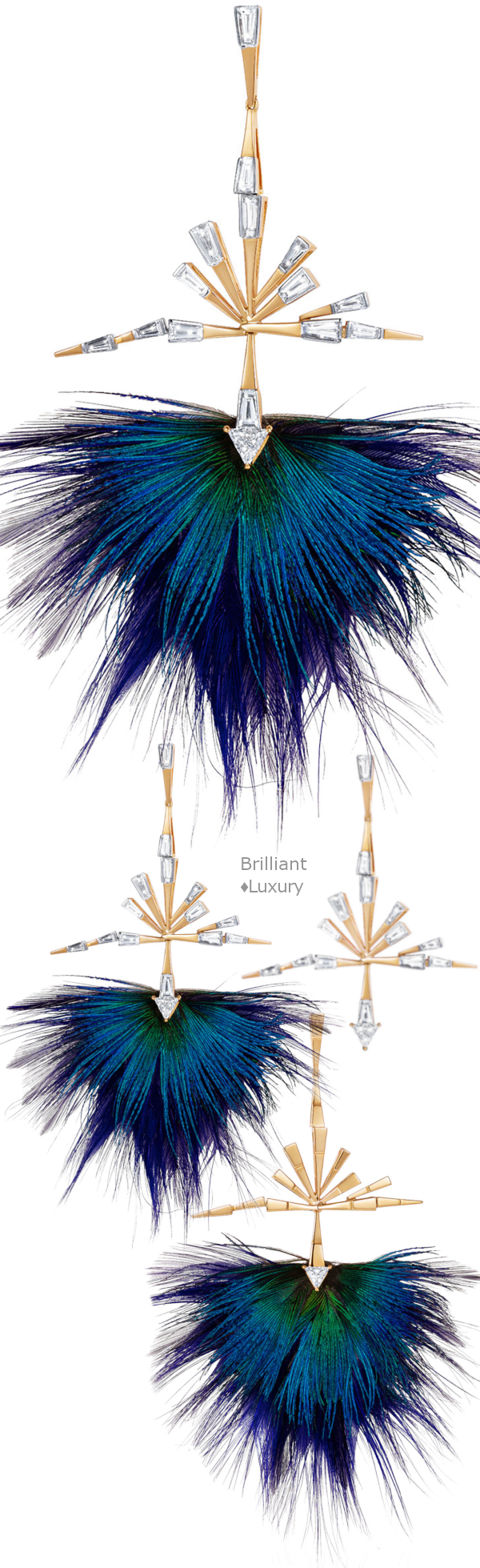 Removable Peacock feathered 18K diamond earrings #jewellery #accessories