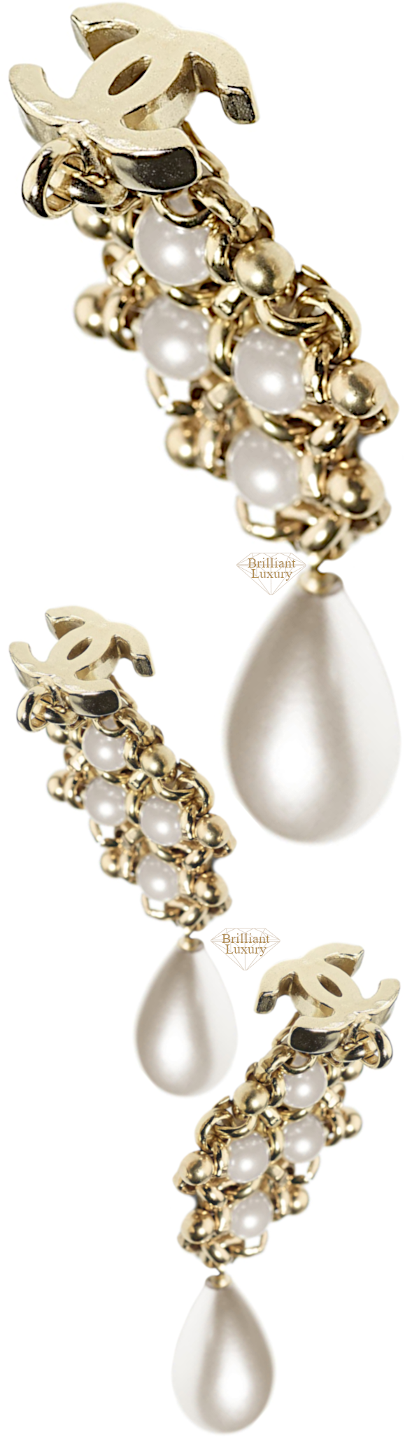 CHANEL Metal Imitation Pearls Earrings #jewelry