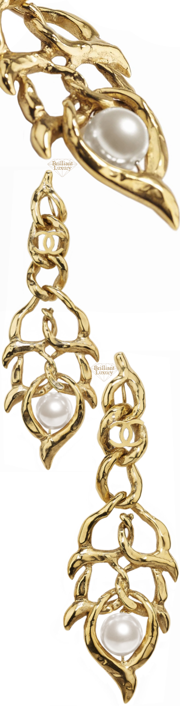CHANEL Metal and Glass Pearls Clip-On Earrings #jewelry