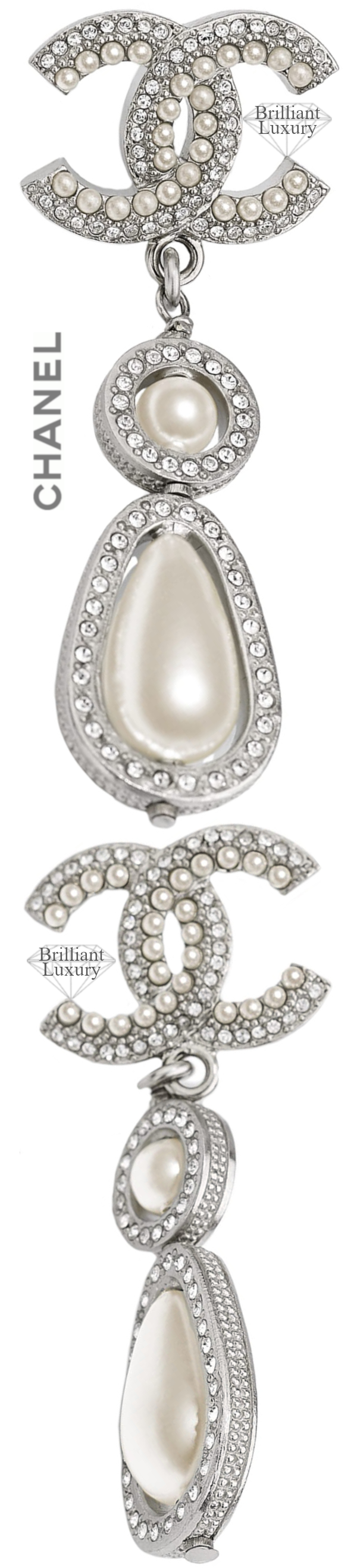 CHANEL Costume Jewelry II Silver Pearl Drop Earrings #jewelry