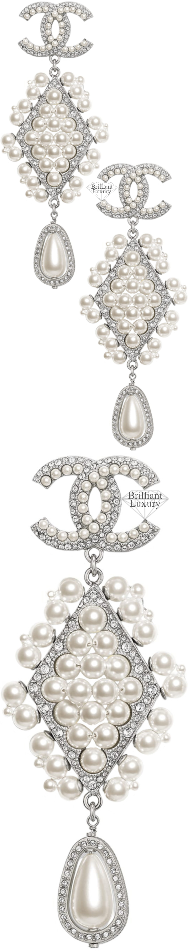 CHANEL Costume Jewelry II Silver Pearl Strass Clip-On Earrings #jewelry