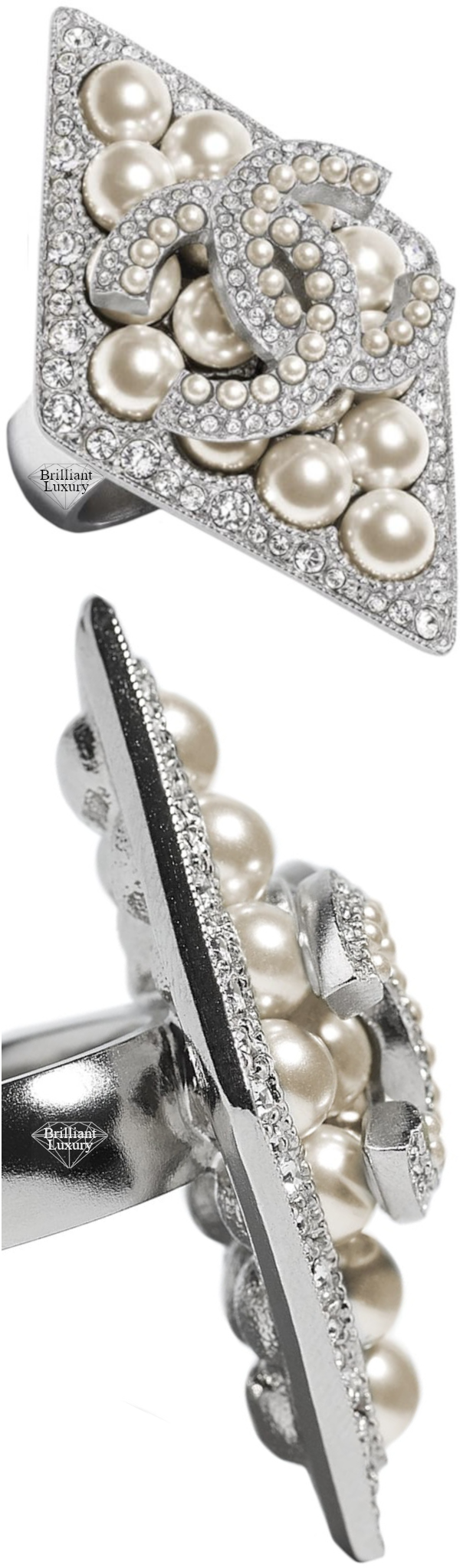 CHANEL Costume Jewelry II Silver Pearl CC Ring #jewelry