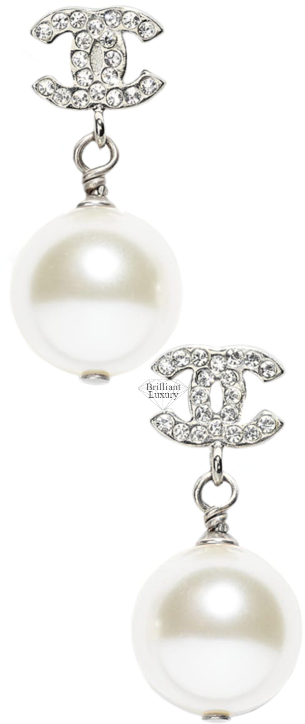 CHANEL Silver Pearl Strass Earrings #jewelry