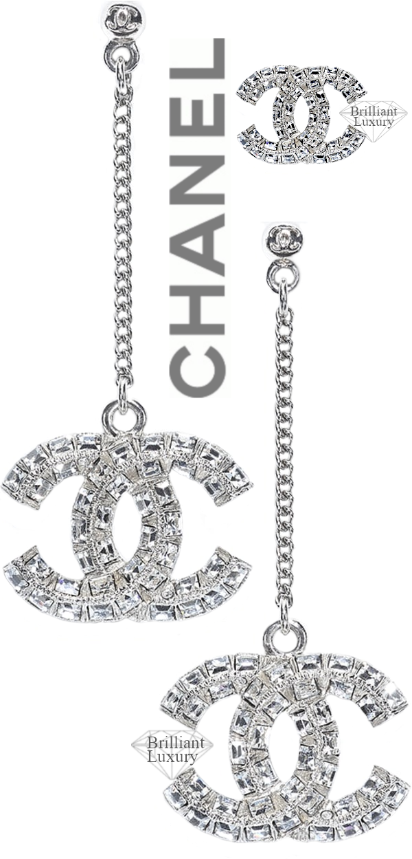 CHANEL Silver Strass Earrings #jewelry