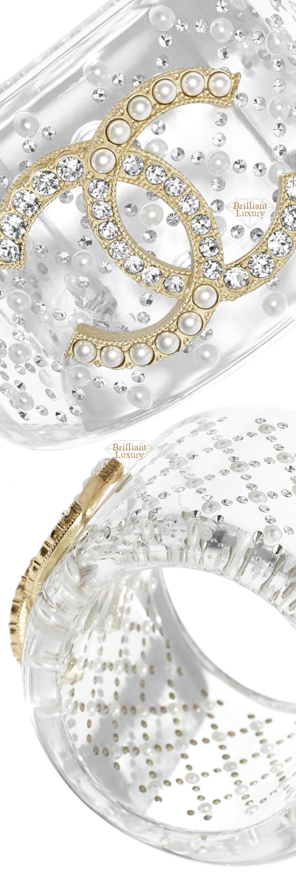 CHANEL Transparent Pearly White CC Cuff #jewelry