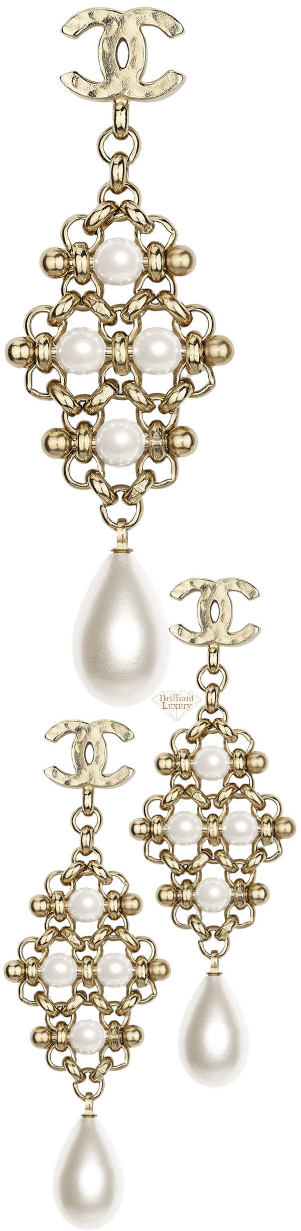 CHANEL Metal Imitation Pearl Earrings #jewelry