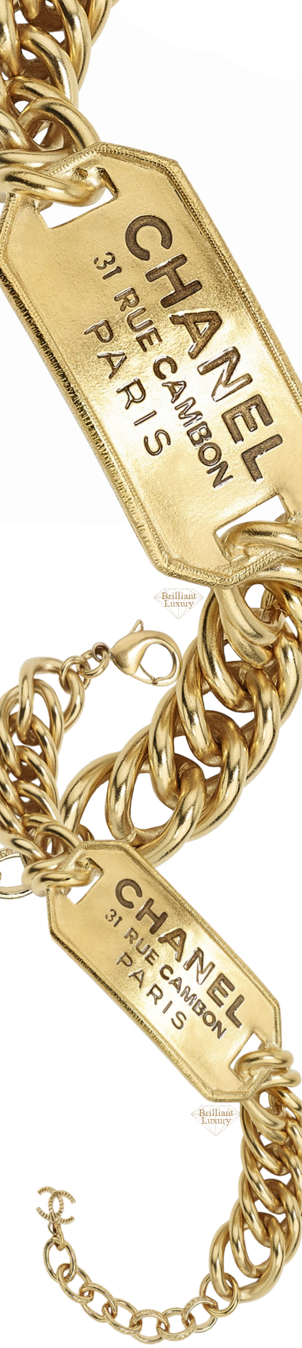 CHANEL Costume Jewelry I Metal Gold Bracelet #jewelry