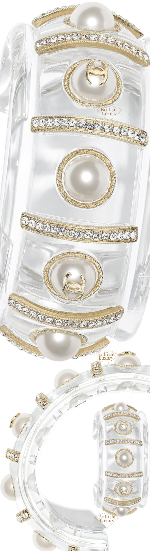 CHANEL Transparent Pearly White Cuff #jewelry