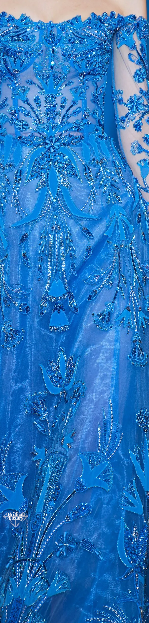 Zuhair Murad Spring 2020 Couture Egyptian Embroidered Royal Blue Gown #fashion
