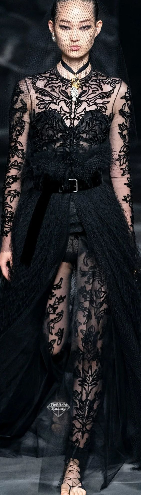 DIOR Black Lace Couture Fashion