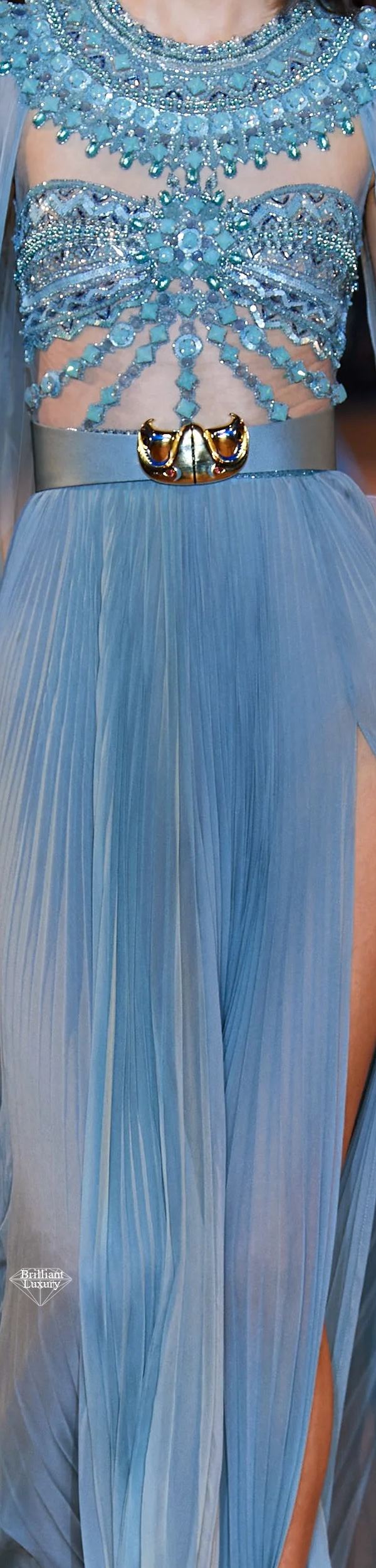 Zuhair Murad Spring 2020 Couture Egyptian Embroidered Light Blue Gown #fashion
