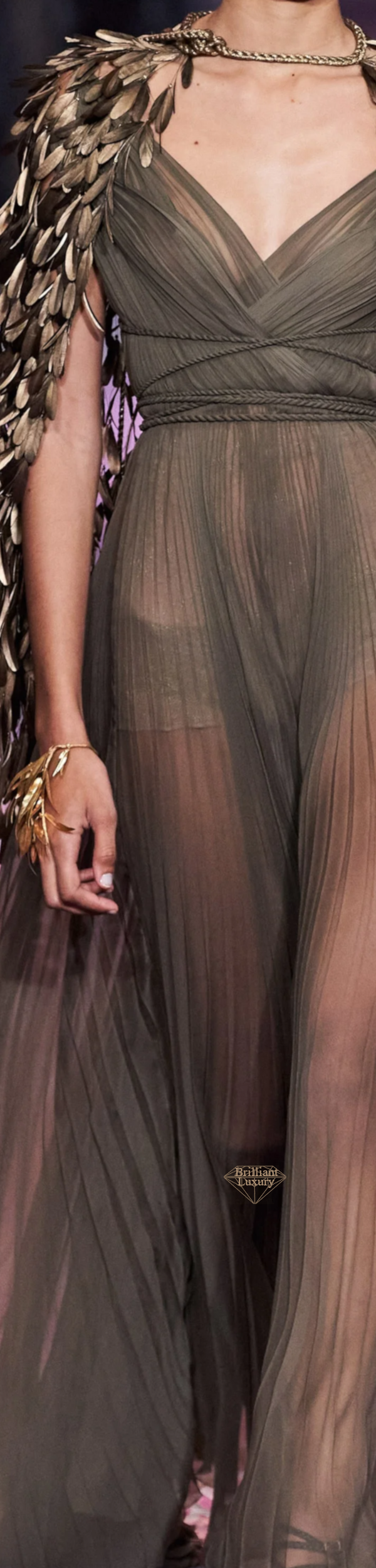 Dior Khaki and Gold Couture Gown Spring 2020 #fashion