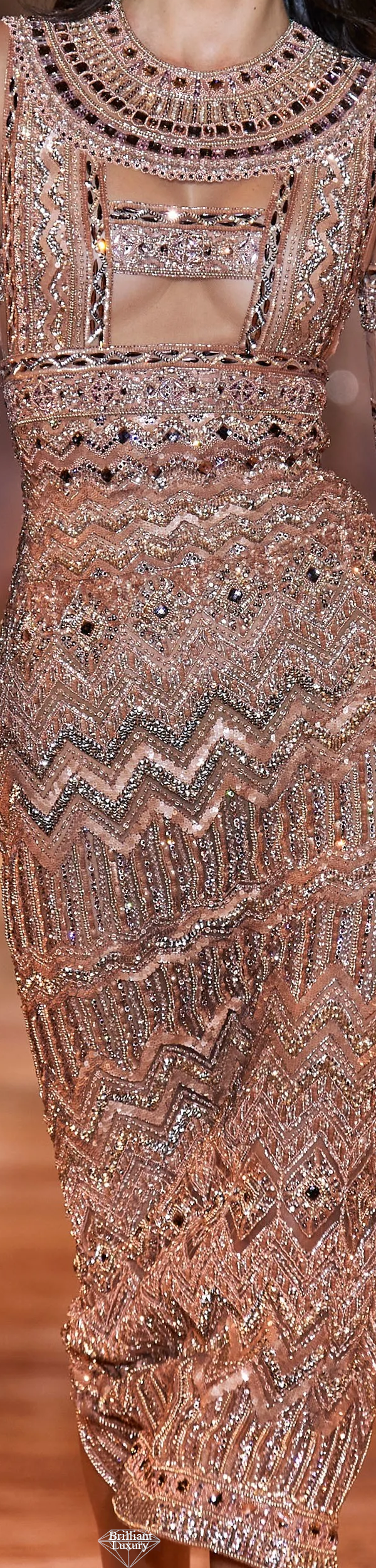 Zuhair Murad Spring 2020 Couture Embroidered Peach Gown #fashion1
