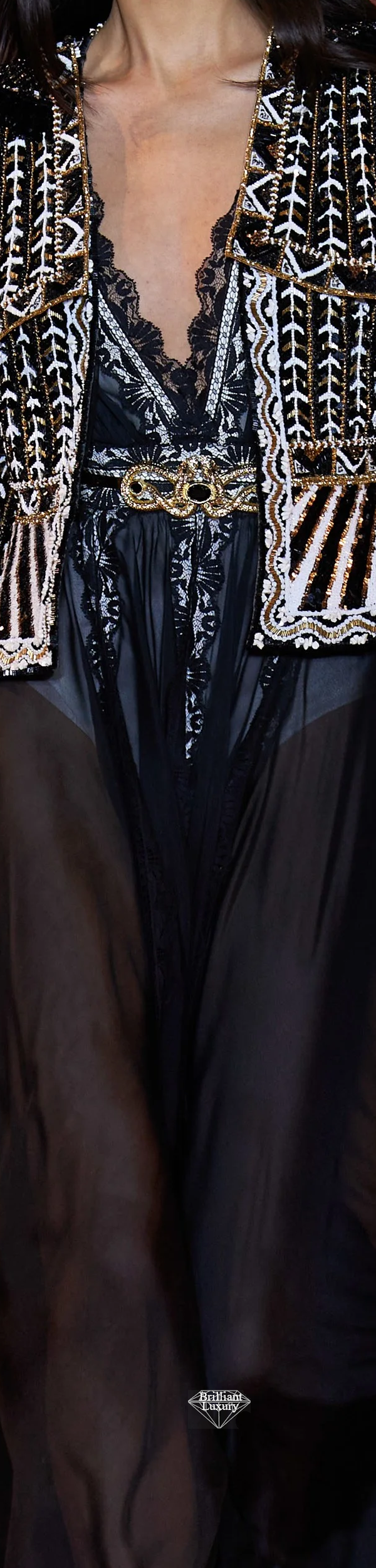 Zuhair Murad Spring 2020 Couture Embroidered Black and White Gown #fashion