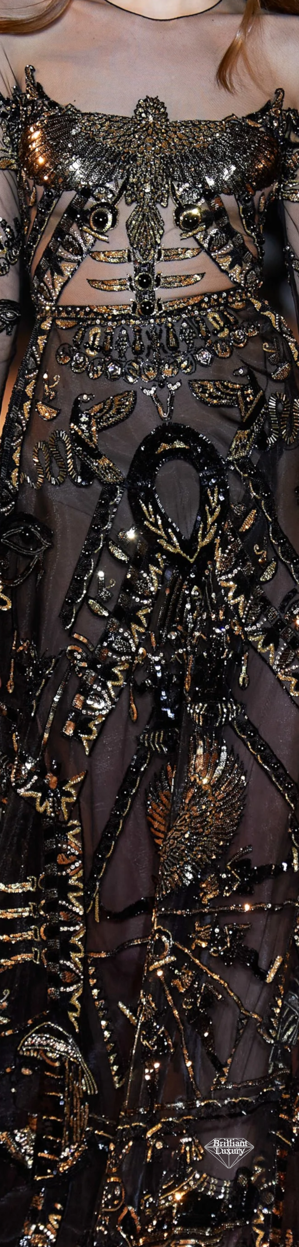 Zuhair Murad Spring 2020 Couture Embroidered Egyptian Black Gown #fashion