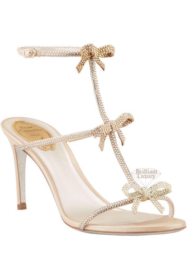 Rene Caovilla Studded Mid-Heel T-Strap Sandal with Bows