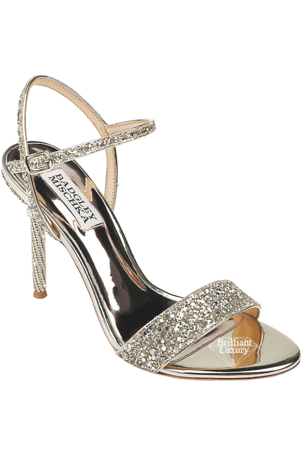 Badgley Mischka Olympia High-Heel Glitter Sandals