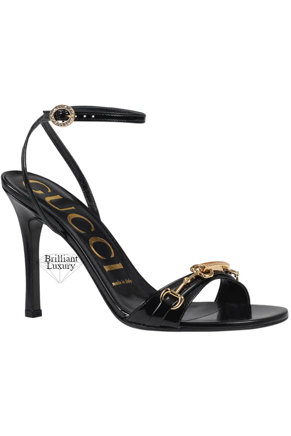 Gucci Moorea Black Leather Sandals With Horsebit