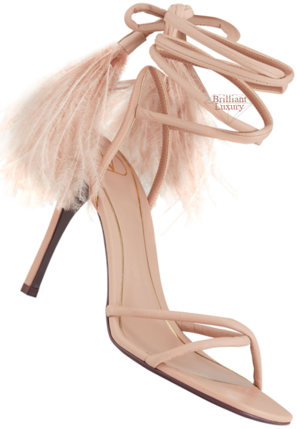 Valentino Ostrich Cream Feather Ankle-Wrap Stiletto Sandals