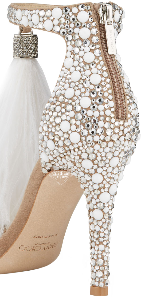 Jimmy Choo Viola Pearl Studded Feather Tassel Cocktail Sandals