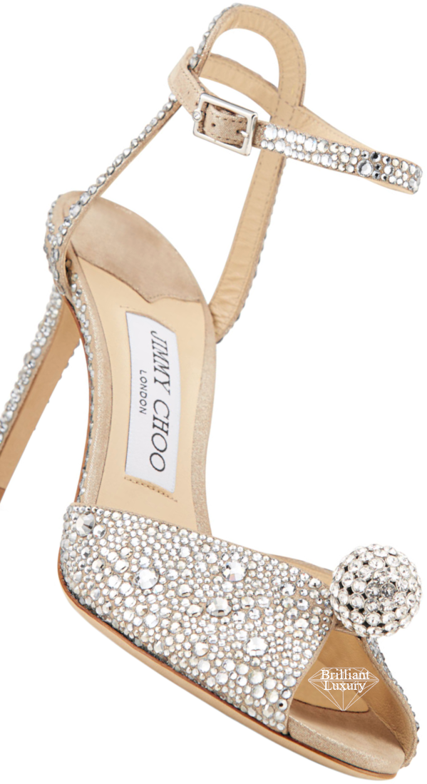 Jimmy Choo Sacora Embellished Bejeweled Satin Cocktail Sandals