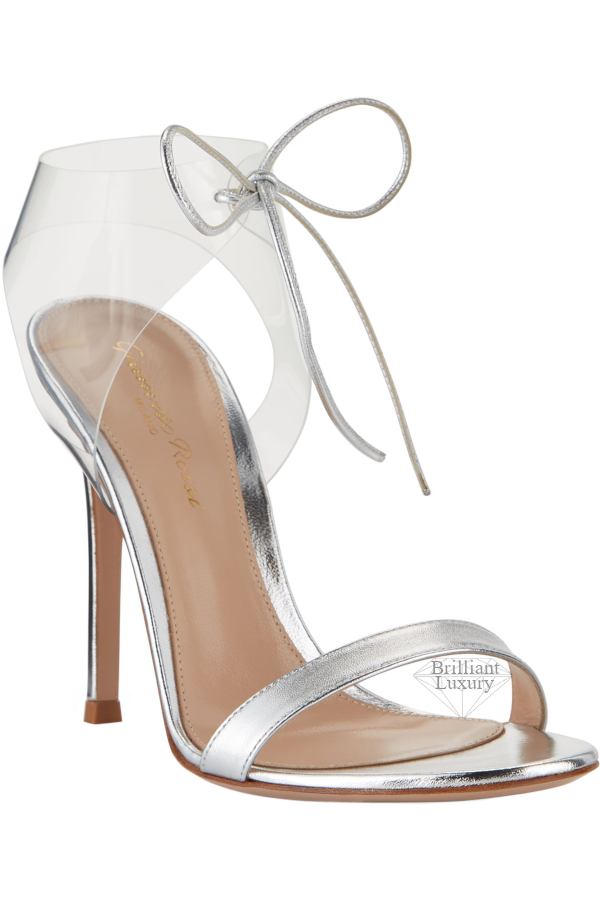 Gianvito Rossi Silver Napa Sandals with Plexi Strap
