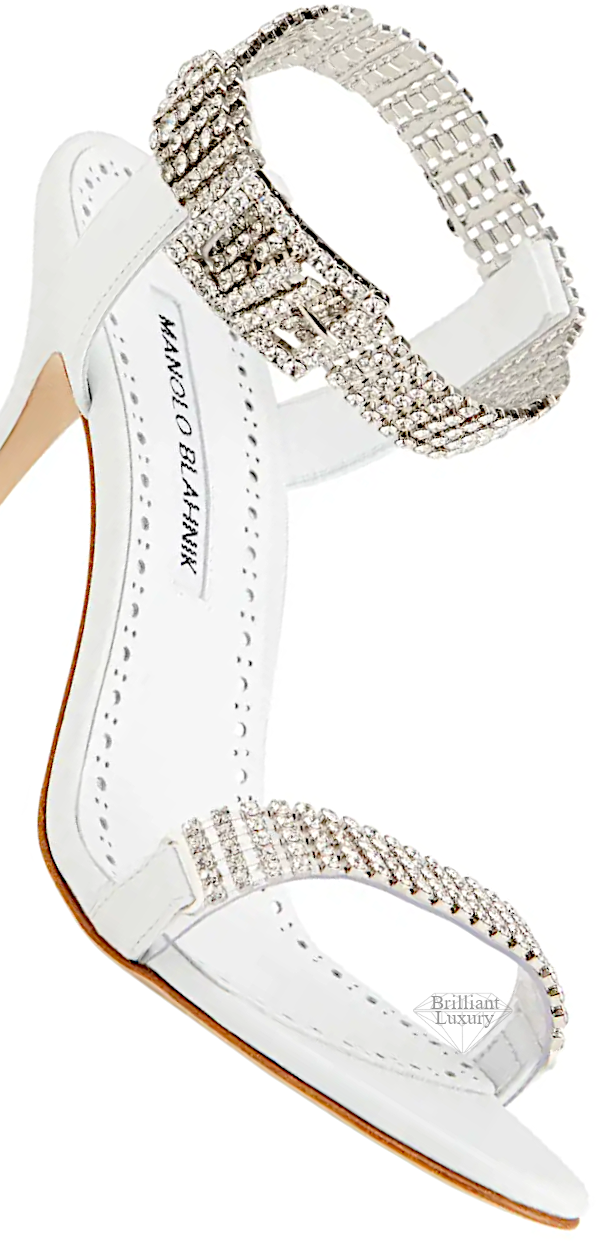 Manolo Blahnik Bashifa White Leather & Crystal Sandals