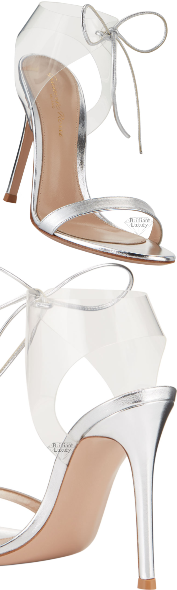 Shoe Collection Spring 2020 Gianvito Rossi Silver Napa Sandals with Plexi Strap