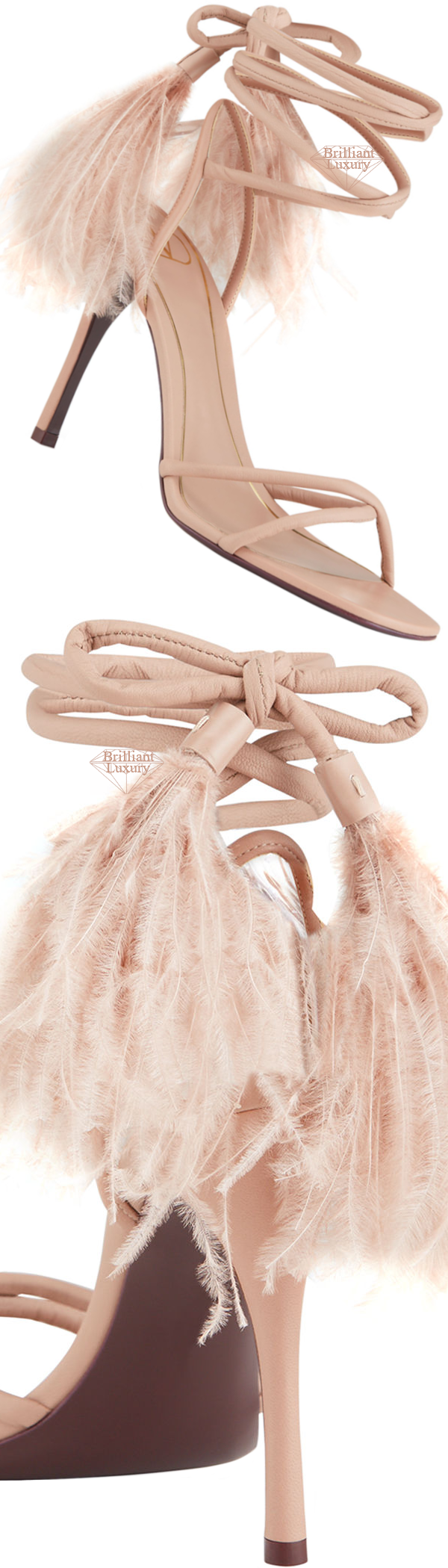 Shoe Collection Spring 2020 Valentino Ostrich Cream Feather Ankle-Wrap Stiletto Sandals