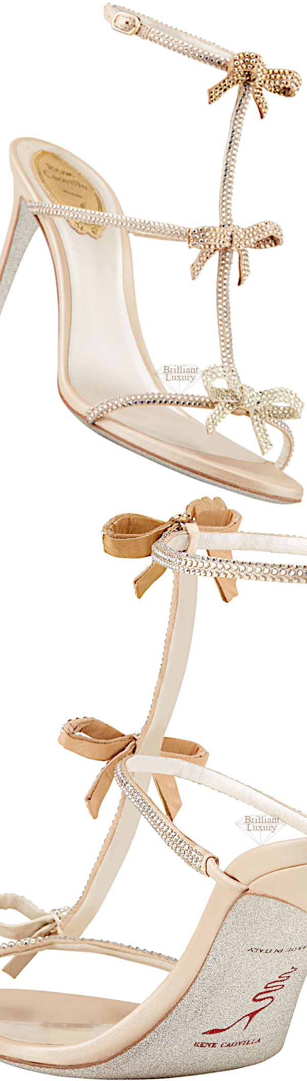 Shoe Collection Spring 2020 Rene Caovilla Studded Mid-Heel T-Strap Sandal with Bows