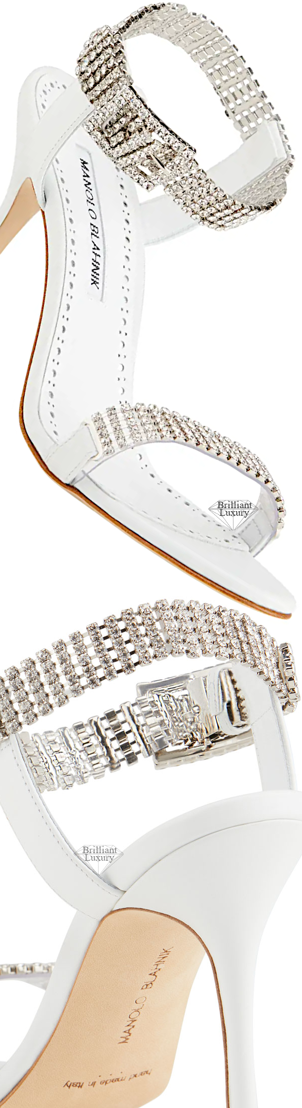 Shoe Collection Spring 2020 Manolo Blahnik Bashifa White Leather & Crystal Sandals