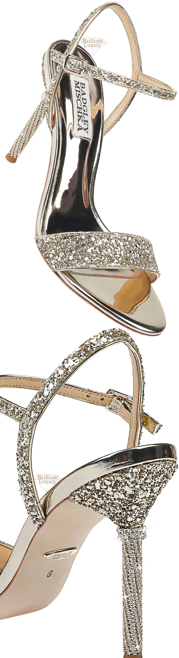 Shoe Collection Spring 2020 Badgley Mischka Olympia High-Heel Glitter Sandals