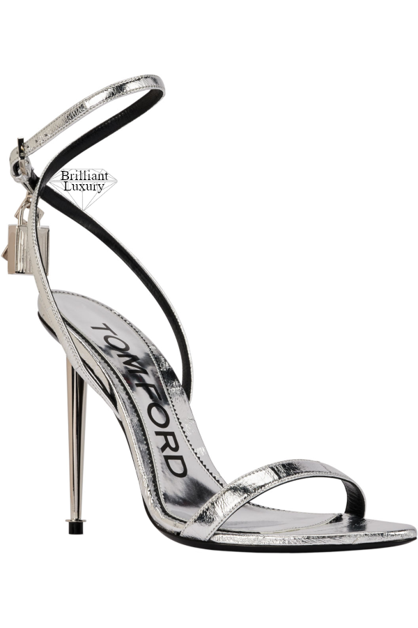 Tom Ford Silver Metallic Lock & Key Stiletto Sandals