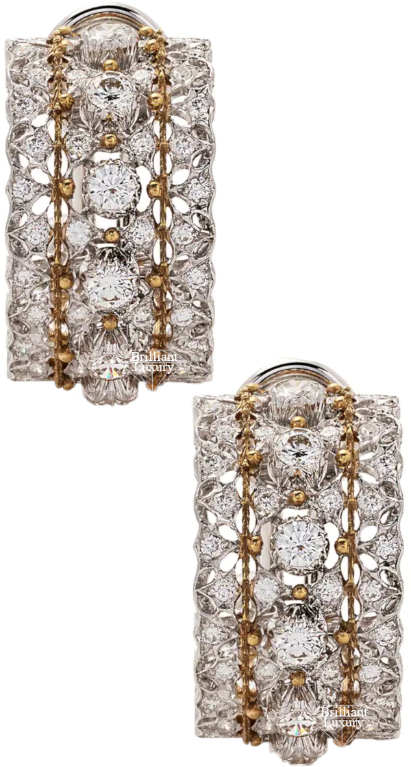Buccellati 18ct White Gold Hoop Diamond Earrings #brilliantluxury