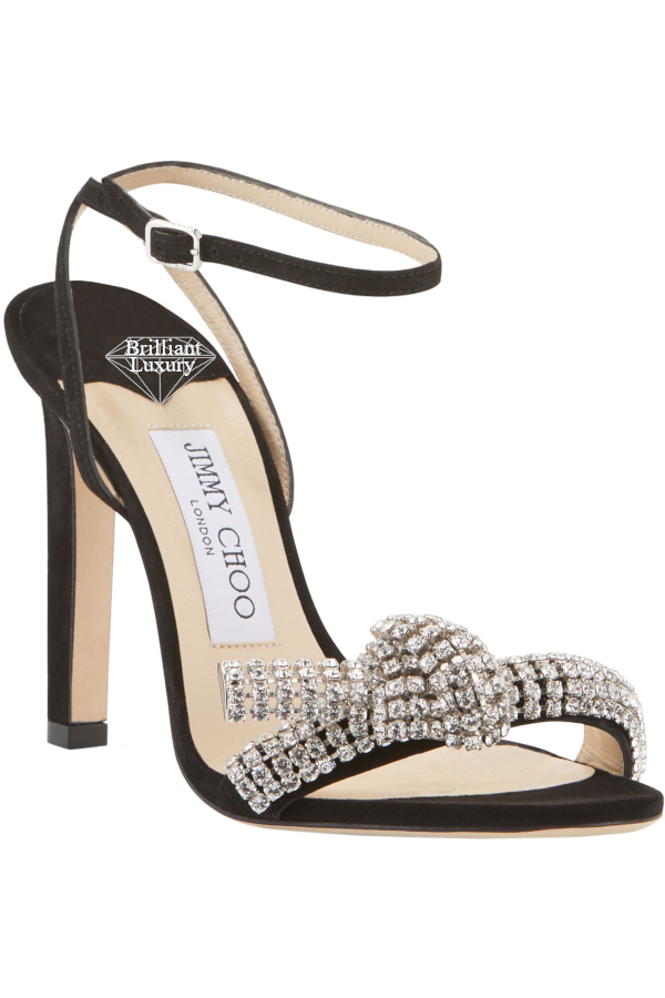 Jimmy Choo Thyra Black Suede Sandals With Crystal Knot