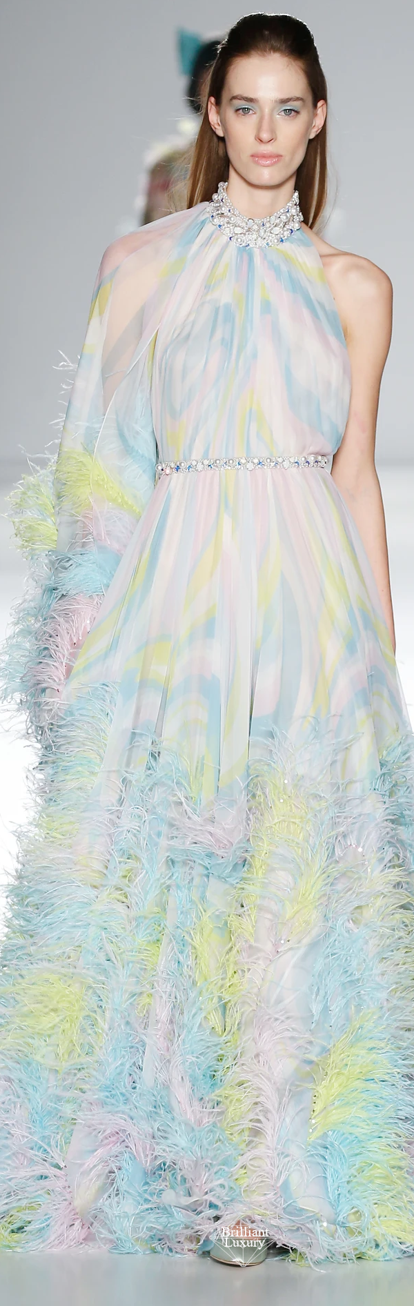 Ralph & Russo pale pink oceana and chartreuse printed silk chiffon gown enriched with xilions crystals and pearls and finished with multi-coloured ostrich feathers #brilliantluxury