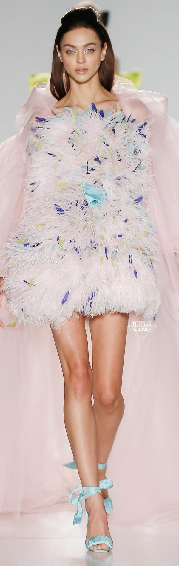 Ralph & Russo pale pink off-the-shoulder mini dress fully embellished with xilions sequins ostrich and coque feathers in hues of oceana chartreuse and cobalt blue #brilliantluxury