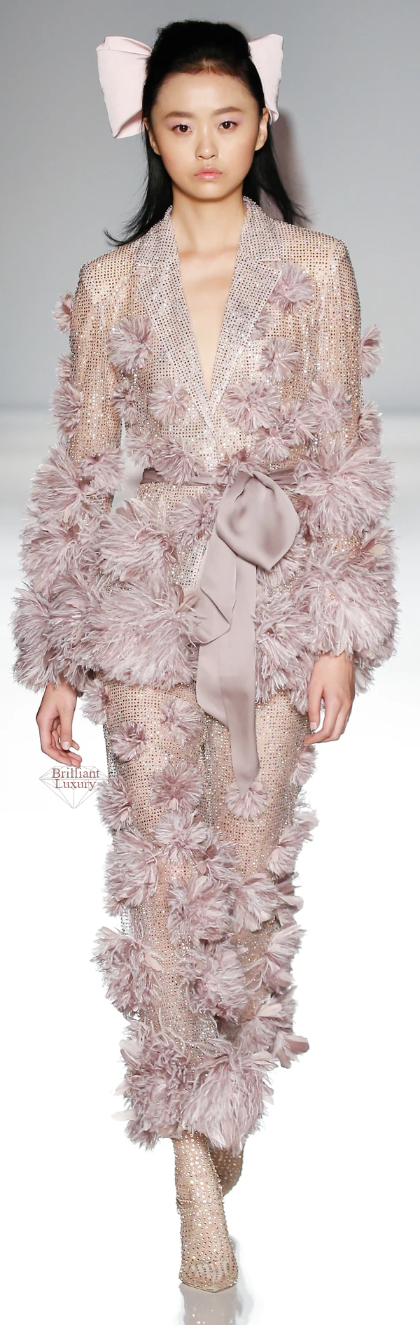 Ralph & Russo pale pink tulle pyjama suit embellished with crystals and enriched with ostrich and coque feather pom poms #brilliantluxury