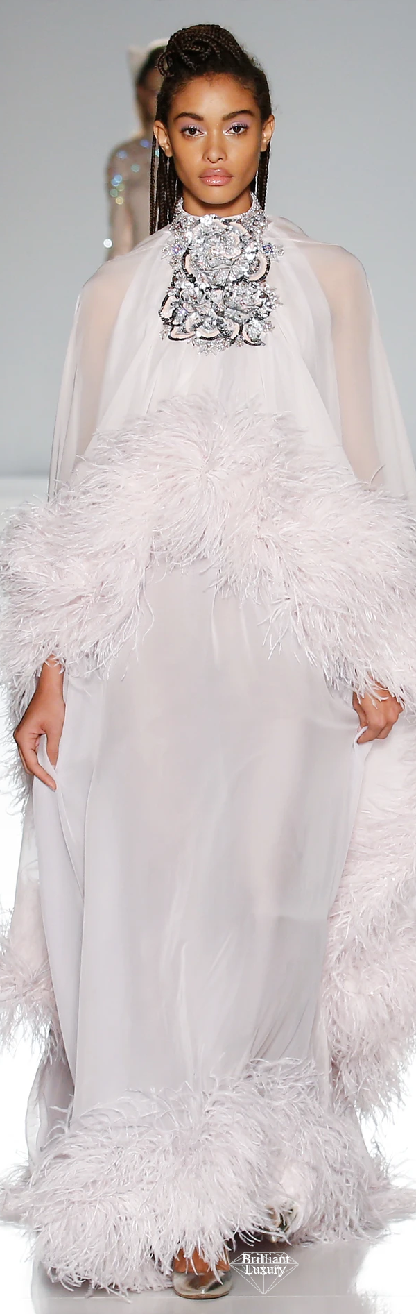 Ralph & Russo pink and grey silk chiffon kaftan bejewelled with sequins crystals and xilions and finished with an ostrich feather edging #brilliantluxury