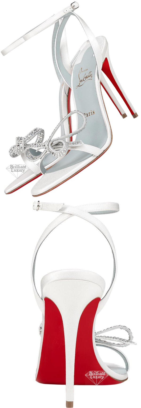 Christian Louboutin white bejeweled Jewel Queen bow sandal #brilliantluxury