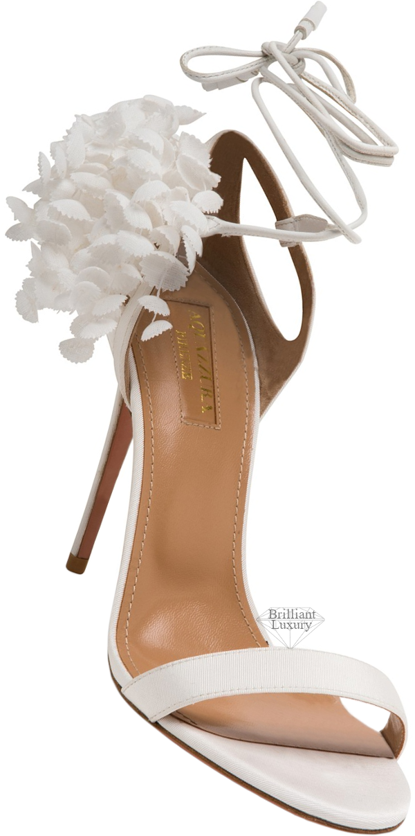 Aquazzura white Lili of the Valley sandal #brilliantluxury