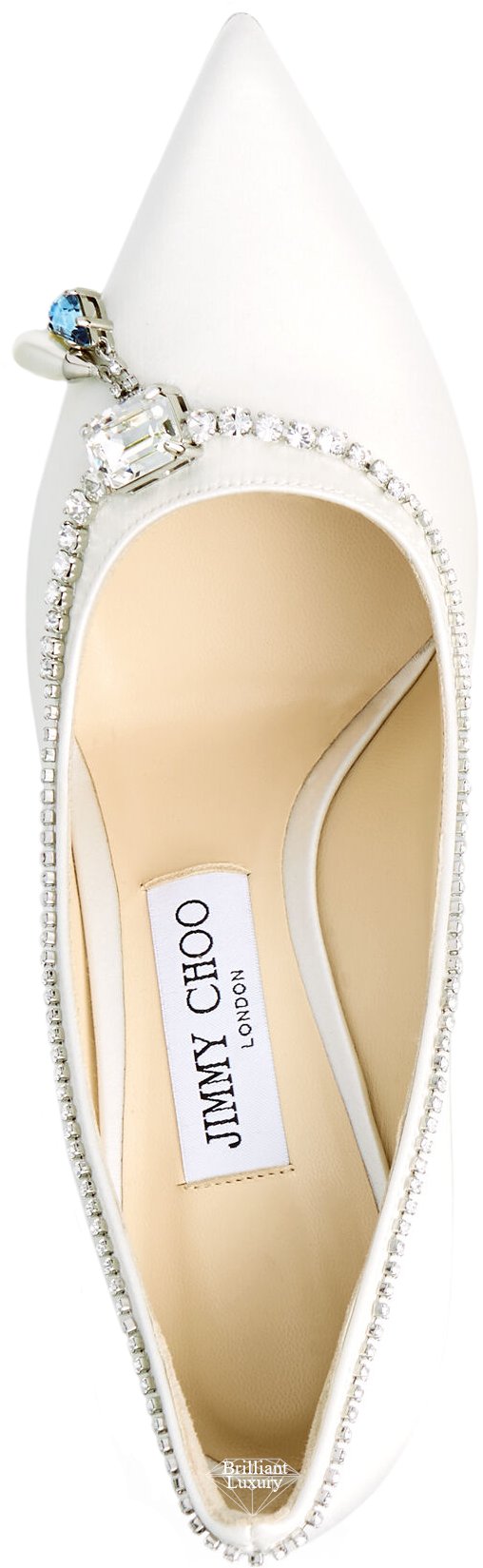 Jimmy Choo Love satin pumps with blue crystal necklace detail #brilliantluxury
