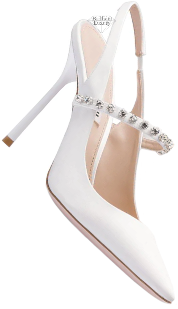 Miu Miu crystal-embellished white slingback pumps #brilliantluxury